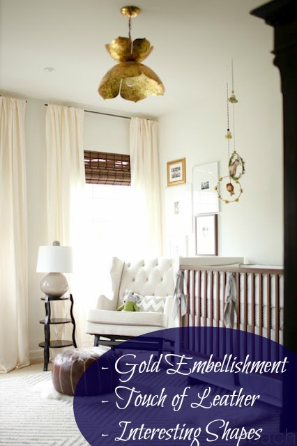 The nice bright window (with the required blackout shades!) showcase a neutral palette nursery with still some regal flair such as the gold light fixture. Also a little of the modern element added with the interesting shapes in the table/lamp