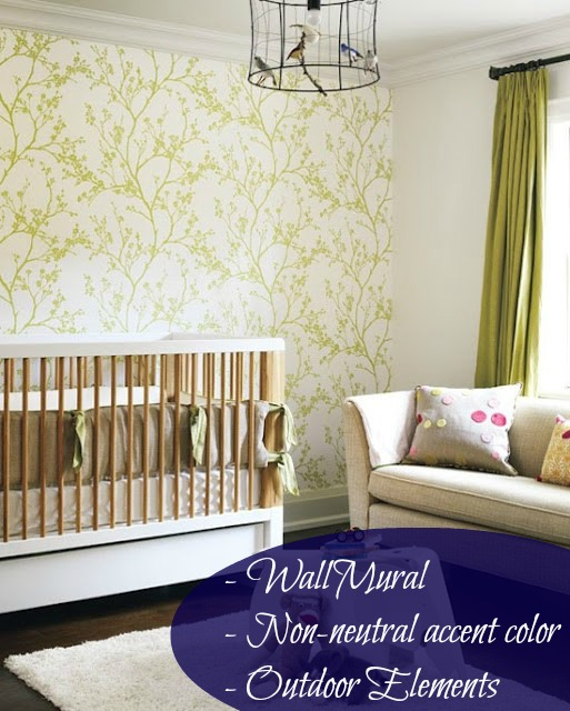 This nursery features elements from the outdoors- something William and Kate are very passionate about. The bird light fixture/mobile features a unique way of bringing the outdoors in.