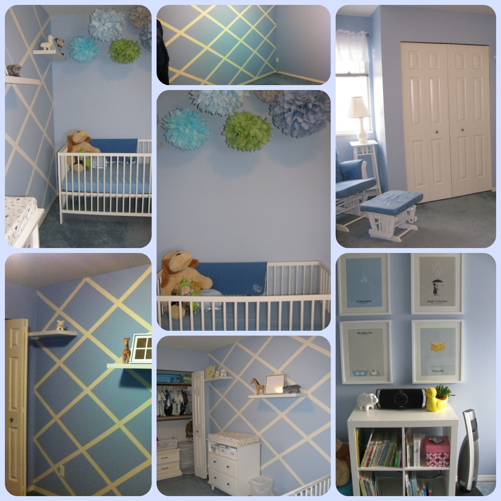 Only fair to show what I did with my nursery. I was decorating before my home renovations, so starting with a blue carpet (and limited budget) I simply painted the walls in a lattice pattern, added some flair with boy-colored pom poms and then used white furniture to keep the room bright.