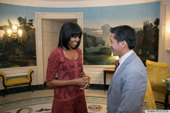 Michelle in the White House ahead of the Inauguration debuting her new bangs (Picture from @FLOTUS)