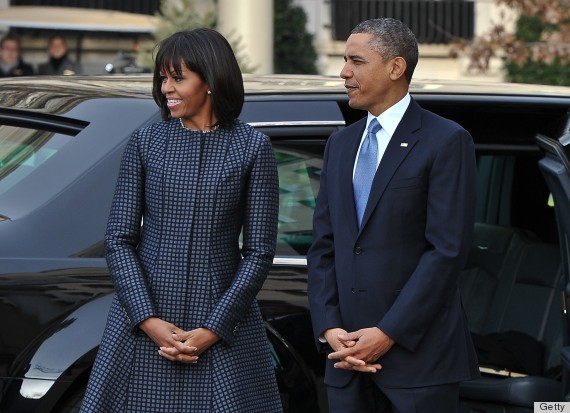 Michelle Obama Arriving at the Presidential Inauguration 2013 in Thome Browne - NICHOLAS KAMM/AFP/Getty Images