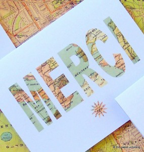 "Vintage ""Merci"" Map Thank You Cards, from Etsy"
