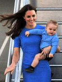 The Duchess and Prince George looking refreshed after a flight.