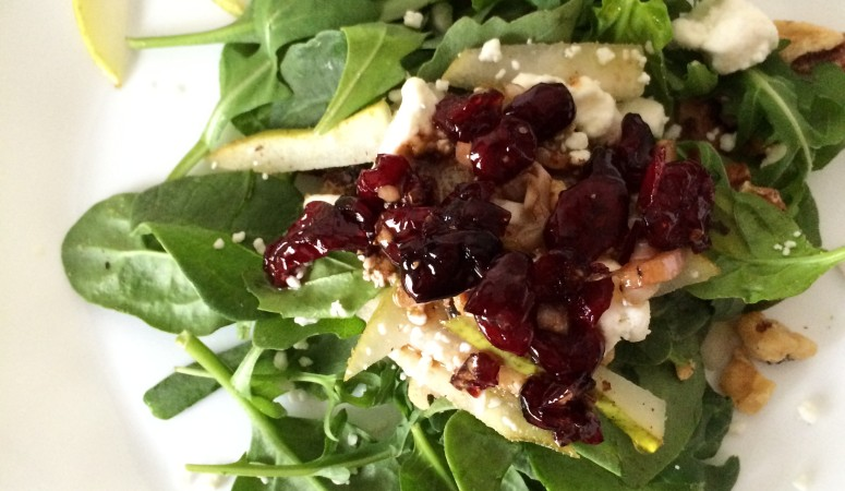 Cooking with Catherine:  Spinach Salad with Goat Cheese, Toasted Walnuts, and Pears